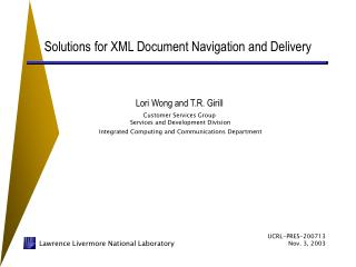 Solutions for XML Document Navigation and Delivery