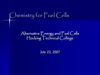 Chemistry for Fuel Cells