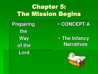 Chapter 5:   The Mission Begins