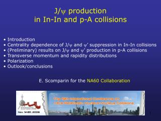 J/  production  in In-In and p-A collisions