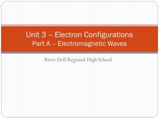 Unit 3  – Electron Configurations Part A – Electromagnetic Waves