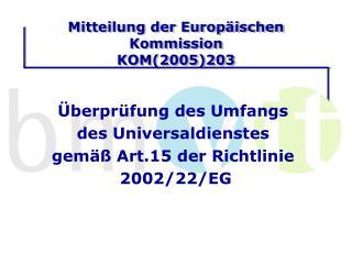 Mitteilung der Europäischen Kommission KOM(2005)203