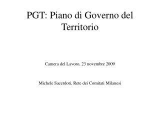 PGT: Piano di Governo del Territorio