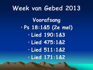 Week van  Gebed  2013
