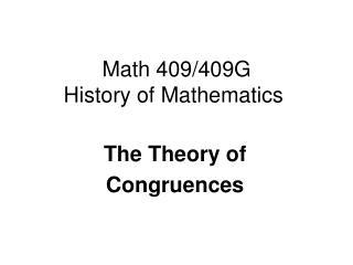 Math 409/409G History of Mathematics