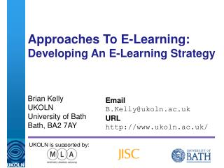 Approaches To E-Learning: Developing An E-Learning Strategy
