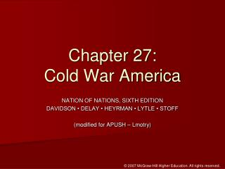 Chapter 27:  Cold War America
