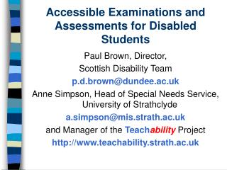 Accessible Examinations and Assessments for Disabled Students
