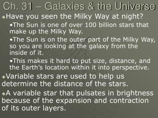 Ch. 31 – Galaxies & the Universe