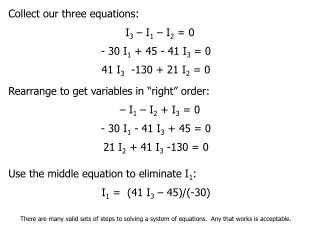 Collect our three equations: