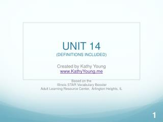 UNIT 14 (DEFINITIONS INCLUDED)