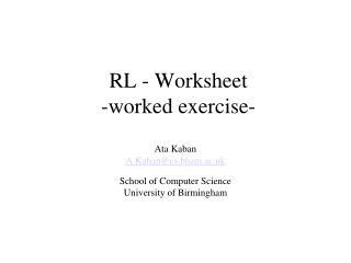 RL - Worksheet -worked exercise-