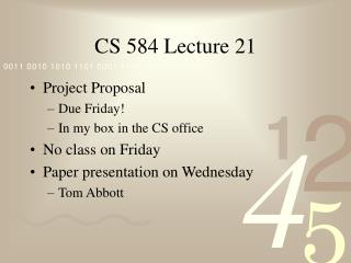 CS 584 Lecture 21
