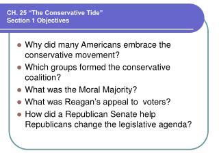 "CH. 25 ""The Conservative Tide"" Section 1 Objectives"
