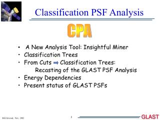 Classification PSF Analysis
