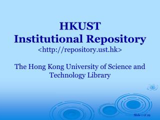 Home Page of the  HKUST Institutional Repository