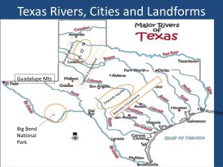 Texas  Rivers, Cities  and Landforms