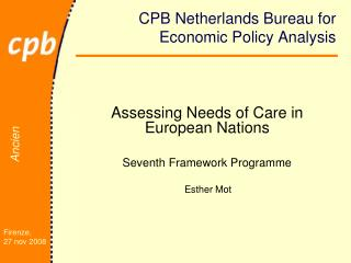 CPB Netherlands Bureau for Economic Policy Analysis