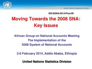 Moving Towards the 2008 SNA: Key Issues