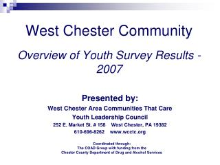 West Chester Community  Overview of Youth Survey Results - 2007