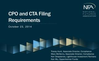 CPO and CTA Filing Requirements