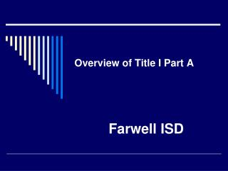Overview of Title I Part A