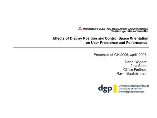 Effects of Display Position and Control Space Orientation  on User Preference and Performance