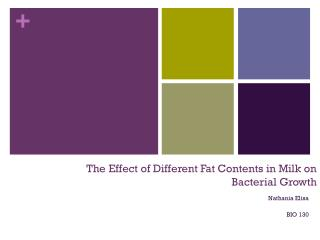 The Effect of Different Fat Contents in Milk on  Bacterial Growth