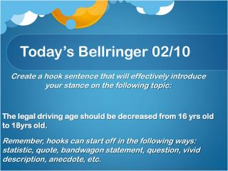 Today's  Bellringer  02 / 10