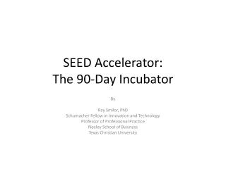 SEED Accelerator: The 90-Day Incubator