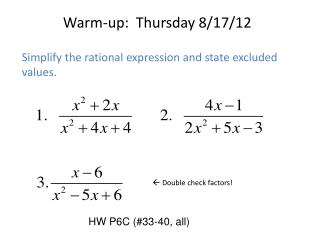 Warm-up:  Thursday 8/17/12