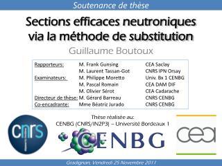 Sections efficaces neutroniques via la m�thode de substitution