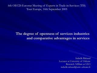 6th OECD-Eurostat Meeting of Experts in Trade-in-Services (TIS) Tour Europe, 14th September 2005