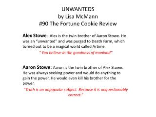 UNWANTEDS by Lisa McMann #90 The Fortune Cookie Review