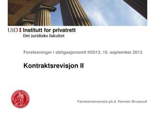 Forelesninger i obligasjonsrett  H2013 ,  10. september  2013
