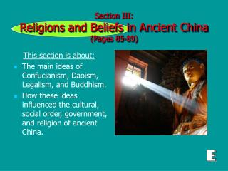 Section III:   Religions and Beliefs in Ancient China  (Pages 85-89)