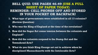 What type of governments were established in all 13 colonies? (Review Question)