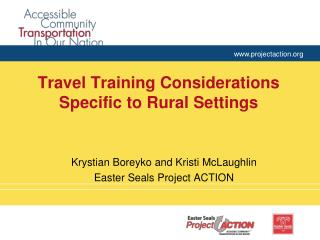 Travel Training Considerations Specific to Rural Settings