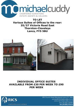 TO LET Various Suites of Offices to the rear: 35/37 Victoria Road East Thornton-Cleveleys