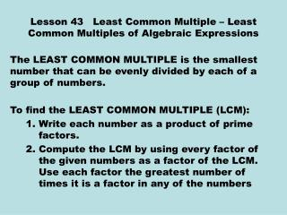 Lesson 43   Least Common Multiple – Least Common Multiples of Algebraic Expressions