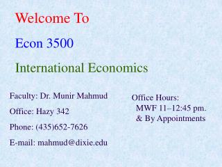Welcome To Econ 3500 International Economics