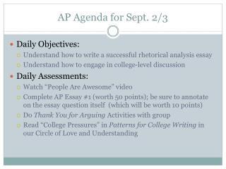 AP Agenda for Sept. 2/3