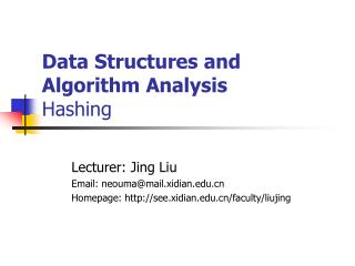 Data Structures and Algorithm Analysis Hashing