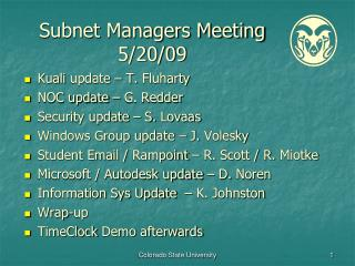 Subnet Managers Meeting 5/20/09