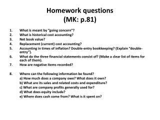 Homework questions  (MK: p.81)