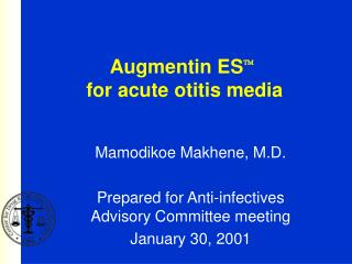 Augmentin ES  for acute otitis media