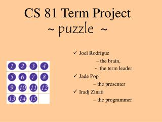 CS 81 Term Project ~  puzzle   ~