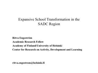 Expansive School Transformation in the  SADC Region