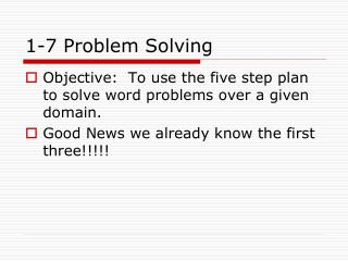 1-7 Problem Solving