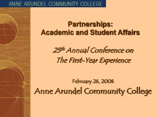 Partnerships:   Academic and Student Affairs